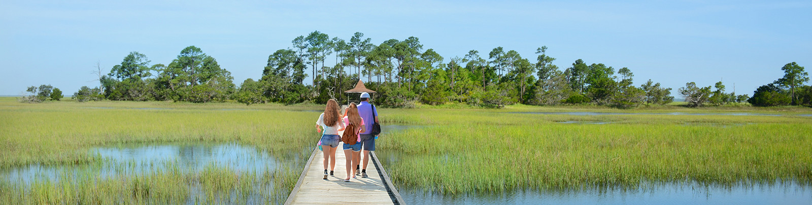 Home Banner - Family walking along causeway in low country
